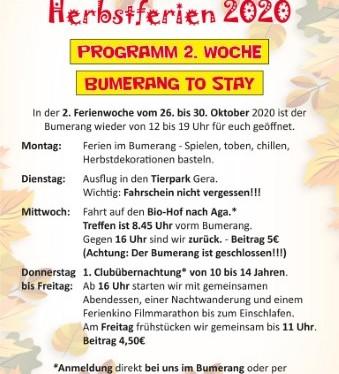 """Herbstferien 2. Woche – Bumerang """"TOSTAY"""""""